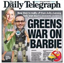 """Apparently, claiming that Senator Waters was waging a war on Barbie was not sensationalised enough - the Daily Telegraph decided to publish an image of her head photoshopped onto a doll's body on December 2, complete with a peace-sign"""